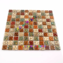 Brown Square Tile Backsplash Kitchen Wall Tiles Ceramic For Bathrooms Porcelain Rustic Mosaic Home Decor(China)