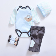 2017 Fashion Newborn Infants Baby Boys Girls Rompers +Long Pants +Hats + Sock Baby pajamas Animal 100% Cotton Baby Clothes Sets