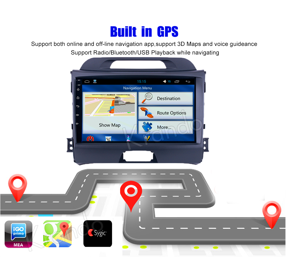 Krando Android car radio gps navigation multimedia system for KIA sportage 2008 2009 2010 2012 2013 2014