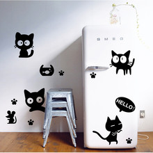 2Pcs wall decals Wall stickers for kids home decor Cat cartoon posters Multi function Fridge Magnets for bathroom computer door(China)