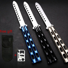 Butterfly in knife Stainless Steel Flail Knife With Hollow Handle training butterfly knife Cool Men Gift Promotion