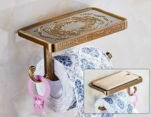 Free Shipping Antique Carving Toilet Roll Paper Rack wiht Phone Shelf Wall Mounted Bathroom Paper Holder And hook Bathroom Parts(China)