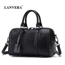 New Genuine Leather Ladies Bags European Fashion Women Shoulder Bag Alligator Grain Messenger Female Bag Brand Boston Bag A782(China)