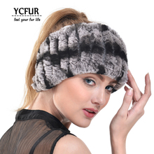 YCFUR Fashion Women Headband Handmade Knit Genuine Rex Rabbit Fur Headbands Girls Natural Fur Scarves Winter YSC116