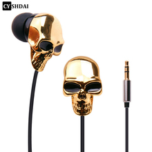 Original CYSHDAI 3.5mm MP3 earphone In Ear earphons High Quality Metal Silver Skull In-ear earphones For iPhone7 5S huawei MP3(China)