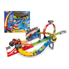 Big Anime Blaze Monster Machines Monster Bigfoot Catapult Track Parking Lot Toy Model Action Figure Juguetes Kids Toys Gifts(China)