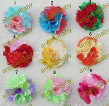 "Free Shipping 50pcs/lot New Arrival 3"" girl Rose Fabric lace Flowers without clip 9Colors,Hair Acessories(China)"