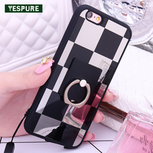 YESPURE Block Mirror Mobile Phone Cases Covers for Iphone 6plus Cheap Cute Cell Phone Cases for Girls with finger ring covers(China)