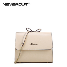 NeverOut New Fashion Women Bag Solid Brand Name Bags Lady Split Leather Shoulder&Crossbody Bags Sac Female Flap Bow Evening Bag