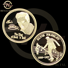 40mm USA Singer 1935-1977 Elvis Presley Coin The King Of Rock N' Roll 24K Gold Plated Souvenir Collectable Challenge Coin(China)