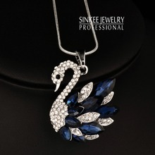 SINLEERY 2016 Vintage Cute Solid Full Cubic Zircon Swan Pendant Animal Long Necklace Chain For Women White Gold Color My359