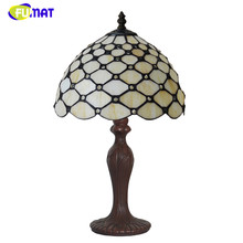 FUMAT Stained Glass Lamp Beads Yellow shade Table Lamp Creative Glass Art Decor Bedside Lamp For Living Room Creative Table Lamp(China)