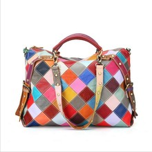 Hot Sales Ladies Fashion Patchwork Leather Handbags Girls Sling Double Shoulder Bag and Big multicolour Patchwork travel bag(China)