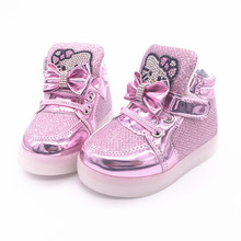 New Cheapest  boys girls luminous shoes kids boots Children's Fashion Sneakers Chaussure Enfant Hello Kitty Girls Shoes