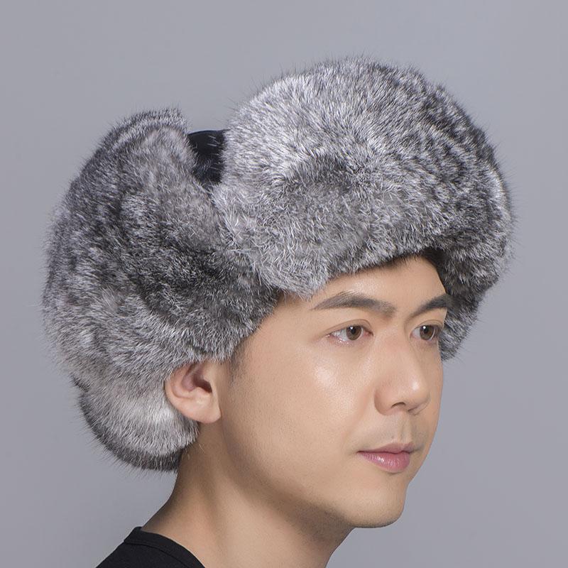 grey rabbit fur sheepskin hat 3