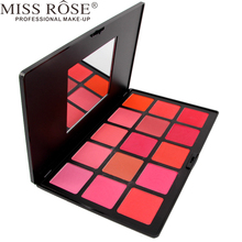 MISS ROSE 1pc Professional 10 Colors Blush Palette Makeup , Blusher Face Cosmetics Natural Pink Red Orange Make Up A170(China)