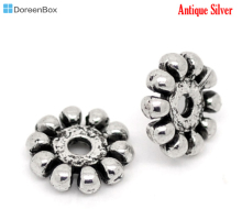 Doreen Box hot-unids 70 Uds. espaciadores de plata tibetana ornamentados cuentas 10mm Dia. (B00539)(China)