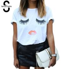 Senza Fretta Summer Eye Lashes Red Lips Loose T-shirts Print Women Girl T Shirt Cotton Women's Clothing Short Sleeve Tee NS245(China)