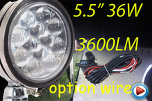 "Free DHL/UPS Ship,5.5"" 36W 3600LM 10~30V,6500K,LED working light;Free ship!Optional wire;motorcycle light,forklift,tractor light"