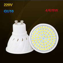 New Arrival 10PCS/LOT SMD 2835 GU10 LED Lamp 220V 230V 240V LED Spotlight 4w 6w 8w Light Bulbs LED for Home Chandelier