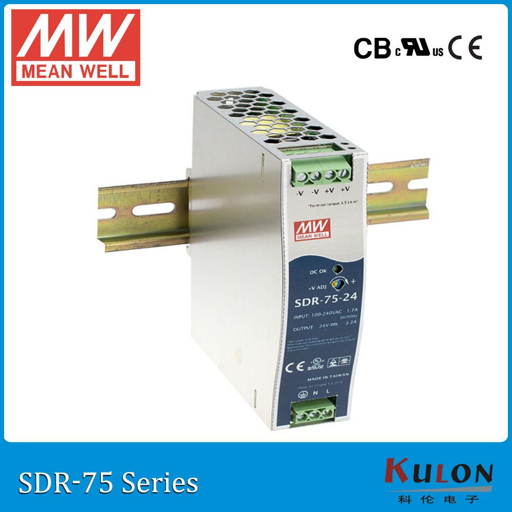 Original MEAN WELL SDR-75-24 Single Output 75W 24V 3.2A Industrial DIN Rail Meanwell Power Supply SDR-75 slim size<br>