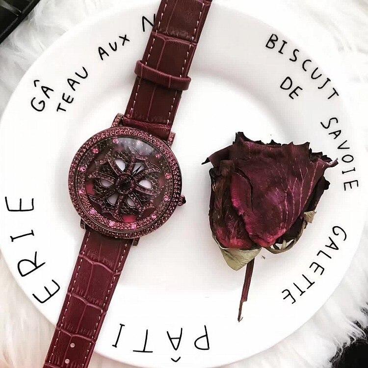 2017 Women Rhinestone Watches Lady Rotation Dress Watch brand Real Leather Band Big Dial Bracelet Wristwatch Crystal Watch<br>