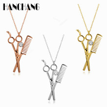 Barber Shop Hair Dresser Rhinestone Scissors Shears Pendants Necklaces accessories men Jewelry(China)