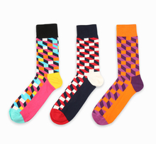 HOT new design high quality cotton autumn winter creative colorful square geometric brand casual men long happy socks