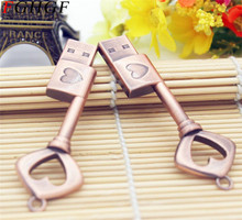 FGHGF Metal heart key pendrive 4GB 8GB 16GB 32GB copper key usb 2.0 usb flash drive pen drive memory stick gift free shipping