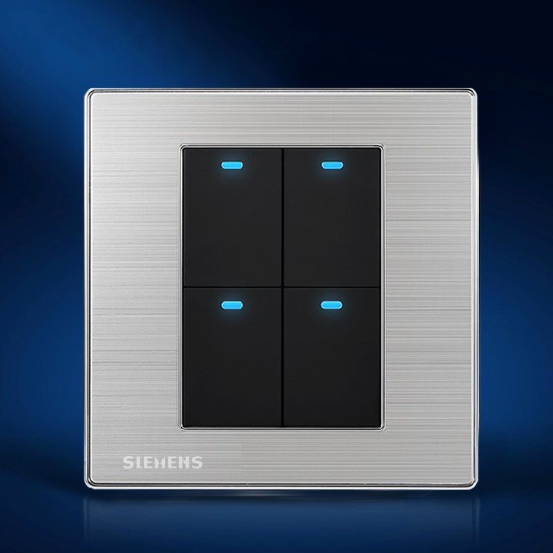Free Shipping, Luxury Wall Light Switch Panel, 4 Gang 2 Way, Champagne/Black, Push Button LED Switch, 10A, 110~250V, 220V<br><br>Aliexpress