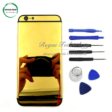 5 PCS/Lot Luxurious Replacement 24K Gold Plated Battery Door for iphone 6 Housing Back Cover Middle Frame with Card Tray +Tools