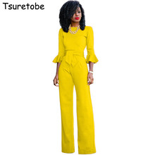 Tsuretobe New Fashion Autumn Elegant Jumpsuits Women Wide Leg Casual Rompers Womens Jumpsuits Flare Sleeve Female Overalls