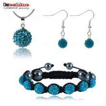LZESHINE New Brand Shamballa Jewelry Set 10mm AB Clay Ball Pendant/Bracelet/Drop Earrrings Jewelry Set Top QualityJST0006mix2