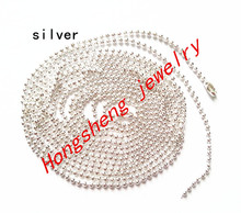 "Wholesale silver color 100 pcs/lot Long:70cm(27.6"" ) Beads:1.5mm(0.059"") Ball Chain Necklace W / Connector (As shown )"