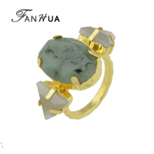 FANHUA New Fashion Gold-Color with Green Stone Triangle Elliptical Geometric Finger Ring For Women Accessories