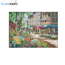 N2TH Paris Flower Market Counted Cross Stitch 11CT 14CT Cross Stitch landscape Cross Stitch Kits Embroidery Needlework Crafts