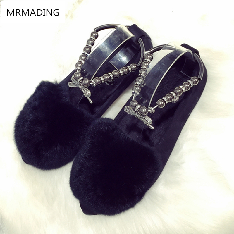 women shoes autumn and winter new fashion foot anklets rhinestones bead boat shoes fur cotton ladle shoes flat doug shoes women<br><br>Aliexpress
