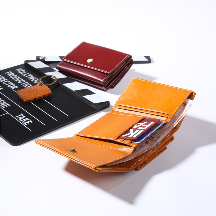 Vintage Mens Womens Genuine Leather Wallets Male Vegetable Tanning Real Leather Short Purse Ladies Retro Coin Purse BR5021<br>