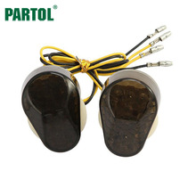 Partol Smoke Lens Motorcycle Bike LED Turn Signals Amber Indicator Light Flasher DC12V for kawasaki ZZR600 ZX9R 7R ZX6R 636 12R(China)