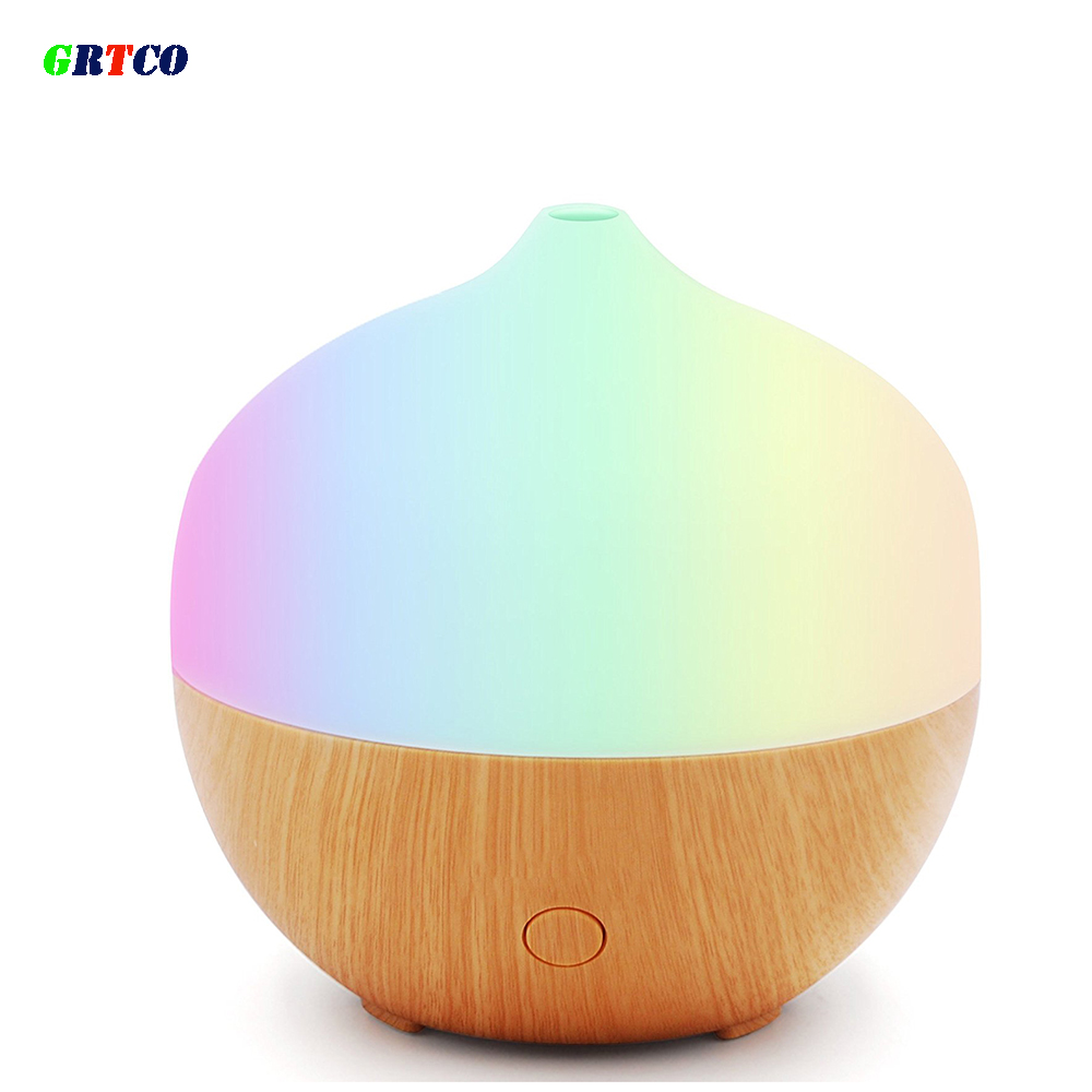 GRTCO Wood Grain Essential Oil Aroma Diffuser Ultrasonic Cool Mist Waterless Auto Shut-off Multi Colors Light Air Humidifier<br>