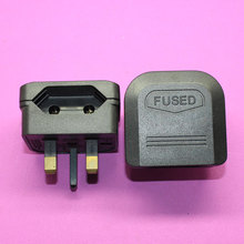 YuXi Universal 2pin to 3pin grounded 13A fused power plug eu to uk cable converter BS wire adapter connector(China)