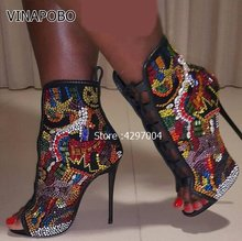 2018 Hot Nicki Crystal Covered Open toe Lace up High Heel Women Booties  Mixed Colors Rhinestone Stiletto Summer Sandals Boots 5ebebaf39ca9