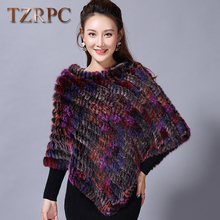Winter Ladies' Genuine 100% Real Knitted Rabbit Fur Poncho WomenKnitted Natural Fur Shawl Fashion Rabbit Fur Cape Shawl Genuine