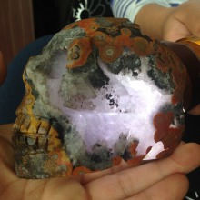 665g Transparent Unique Natural Agate Crystal Skull Reiki Crafts Home Decoration