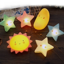Cartoon Lovely Sun Star Moon Cloud Smile Face Shape Sleep Night Light Lamp Silicone LED Toys  Kids Bed Room Decor Nordic Style