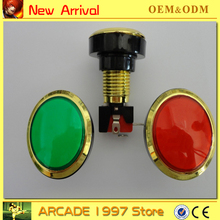 10pcs/lot  45 mm GOLD circle  Illuminated 12v  push button diy arcade part with microswitches and led light