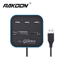 Rakoon 7 Ports Usb Hub 2.0 HUB with Micro Multi Card Reader For SD/MMC/M2/MS/MP Computer Accessories(China)