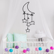 High Quality Cute Baby Kids Bedroom Wall Stickers Moon Stars Removable Adhesive Artistic Wall Decal Special Design Decals SYY173