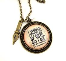 12pcs/lot William Shakespeare inspired necklace Literary Quote Necklace Witty Literary Quote Literary Jewellery Book Lover(China)