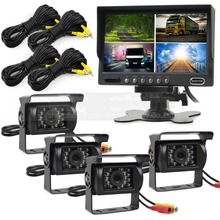 DIYSECUR 7 inch 4 Split QUAD Rear View Monitor +4 x CCD IR Night Vision Rear View Camera Waterproof Monitoring System